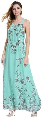 Daylin Newest Womens Large Size Daily Sleeveless Boho Ladies Floral Print Summer Long Maxi Holiday Dress (3XL