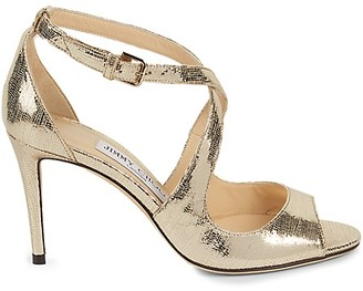 Jimmy Choo Metallic Leather Ankle-Strap Peep Toe Sandals