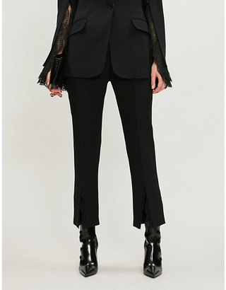 Alexander McQueen Lace-insert straight crepe trousers