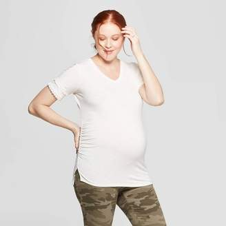 Ingrid & Isabel Isabel Maternity by Maternity Short Sleeve V-Neck Lace Trim T-Shirt - Isabel Maternity by Cream
