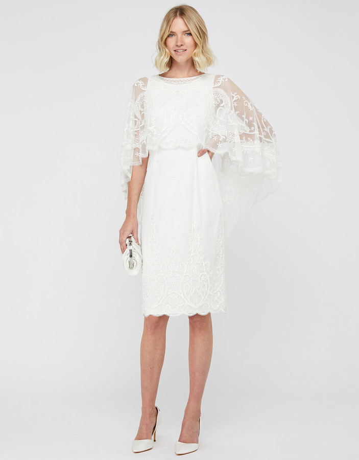Monsoon Dora Bridal Embellished Midi Dress Ivory