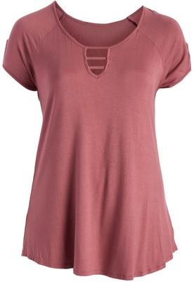 Peek A Boom Peek-a-BOOM Women's Tee Shirts DARK - Dark Mauve Ladder-Accent Short-Sleeve Swing Top - Plus