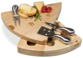 Picnic Time Swiss Rubber Wood Cheese Board & Tools Set