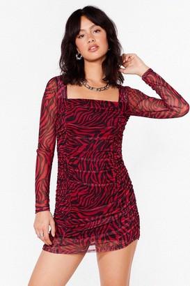Nasty Gal Womens On Our Mesh Behaviour Zebra Mini Dress - Red