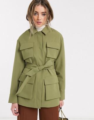 Topshop utility blazer in khaki