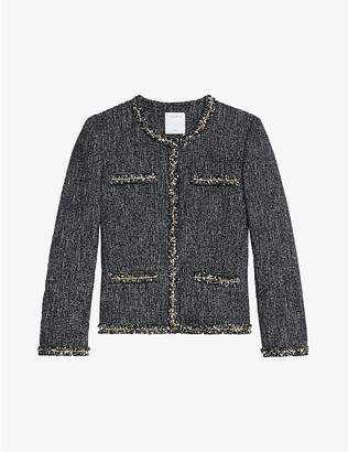 Sandro Taley chain-trimmed tweed jacket