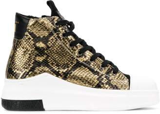 Cinzia Araia snakeskin effect high top sneakers