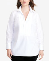 Lauren Ralph Lauren Plus Size Pleated-Front Tunic