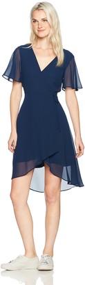 My Michelle Women's Wrap Dress with High Low Hemline