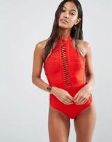 Missguided Bandage Halter Swimsuit