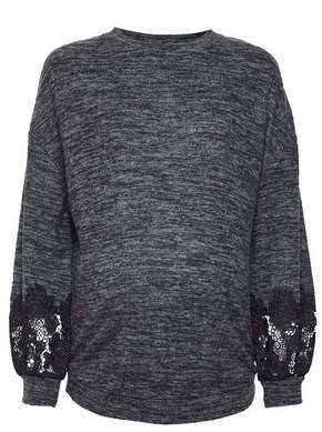 Dorothy Perkins Womens **Maternity Charcoal Brushed Lace Top