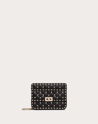 Valentino Small Rockstud Spike Nappa Leather Bag Women Black Lambskin 100% OneSize