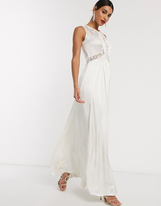 Ghost elvita wedding dress with lace neck detail