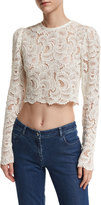 A.L.C. Talia Long-Sleeve Cropped Sheer Lace Top, White