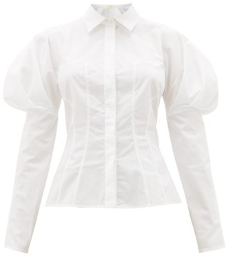 Sara Battaglia Bustier-stitch Puff-sleeve Cotton-poplin Shirt - White
