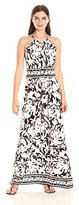 London Times Women's Floral Halter Keyhole Maxi Dress