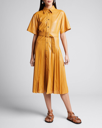 Cédric Charlier Perforated Faux-Leather Belted Shirtdress