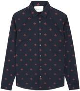 Gucci Navy Bee-print Cotton Shirt