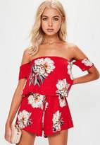 Missguided Red Floral Crepe Overlay Bardot Romper