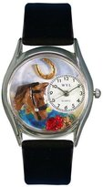 Whimsical Watches Women's S0110007 Horse Head Black Leather Watch