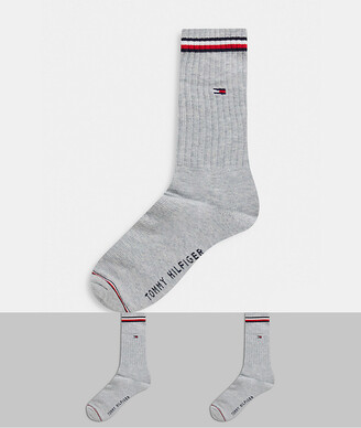 Tommy Hilfiger crew 2 pack socks in grey