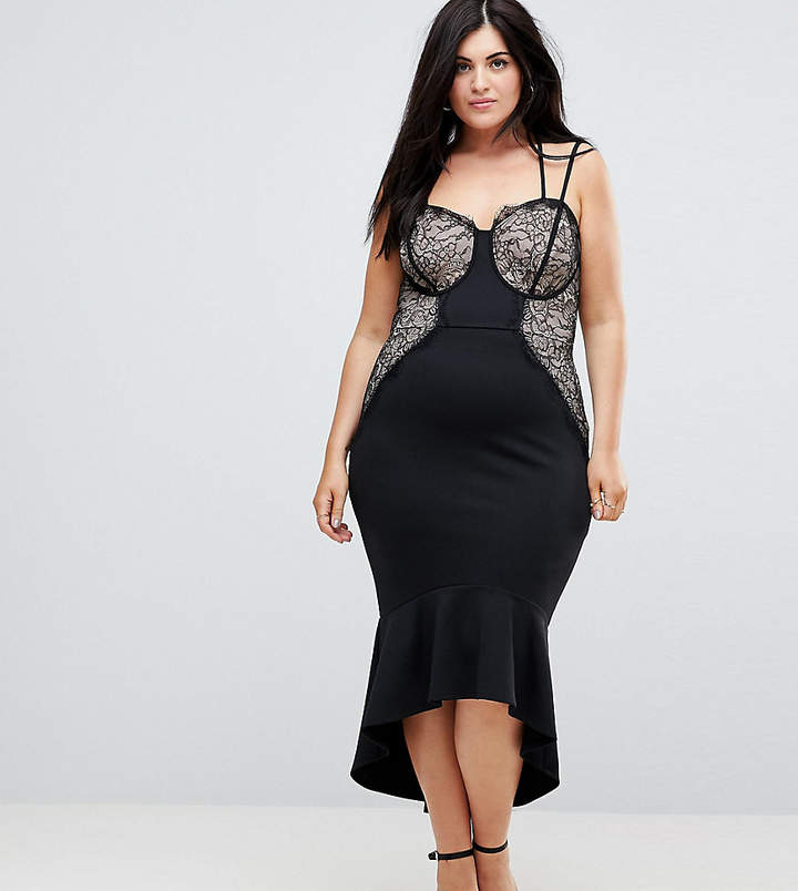 Asos Lace Cupped Pephem Strappy Bodycon Dress