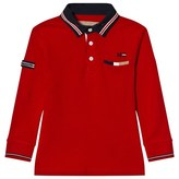 Mayoral Red Long Sleeve Polo with Red Tipping