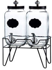 Jay Import Co Manchester Double Glass Beverage Dispenser w/ Stand