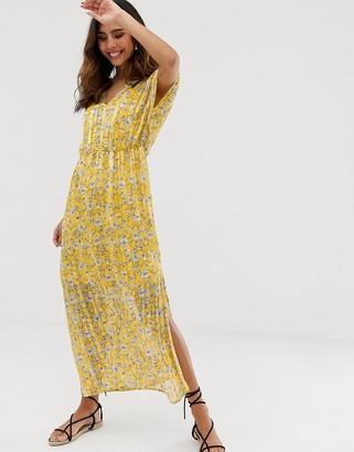 Vero Moda sheer stripe floral printed maxi dress-Yellow