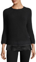 Moncler Crewneck Bell-Sleeve Ribbed Wool-Cashmere Sweater w/ Leather