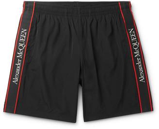 Alexander McQueen Long-Length Logo-Print Webbing-Trimmed Swim Shorts