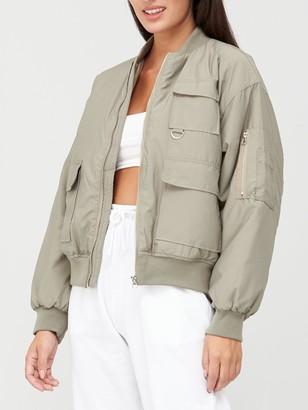 Missguided Oversized Pocket Bomber Jacket - Olive