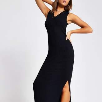 River Island Womens Black lace V neck ribbed maxi dress