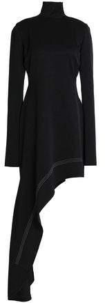 Ellery Cutout Asymmetric Satin-Crepe Turtleneck Mini Dress