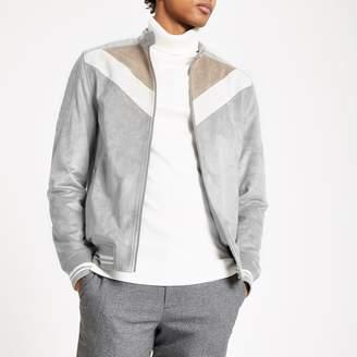River Island Mens Grey suede chevron colour block racer jacket
