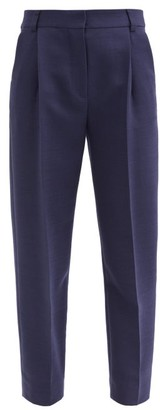 See by Chloe City Cropped Pleated-rise Twill Trousers - Blue