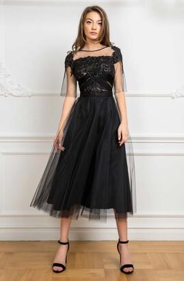 Cristallini Short Sleeve Embroidered Midi-Tea Dress