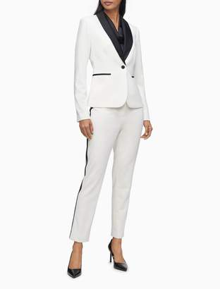 Calvin Klein Satin Shawl Collar 1-Button Tuxedo Blazer