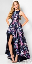 Terani Couture High-Low Keyhole Floral Evening Gown