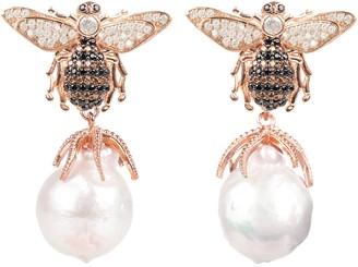 Latelita Broque Pearl Bee Drop Earring Rose Gold