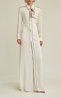 Y/Project Belted Asymmetric-Collar Maxi Shirt Dress