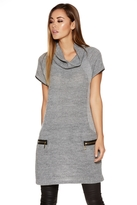 Quiz Grey Knit Roll Neck Tunic Dress