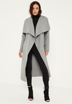 Missguided Petite Grey Oversized Waterfall Duster Coat