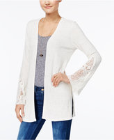 American Rag Crochet-Trim Ribbed Cardigan, Only at Macy's