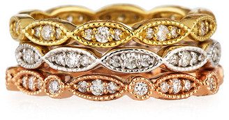 Diana M Fine Jewelry 18K Tri-Tone Set Of Three 0.90 Ct. Tw. Diamond Eternity Rings