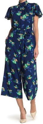 Donna Morgan Floral Flutter Sleeve Jumpsuit