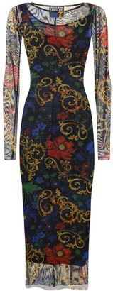 Versace Jeans Couture Printed Mesh Midi Dress