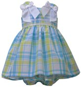 Bonnie Jean Baby-Girls Plaid White Bow Dress (6-9 months)