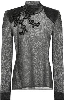 Christopher Kane Embroidered metallic top