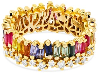 Suzanne Kalan Yellow Gold, Diamond and Double Rainbow Sapphire Fireworks Eternity Ring (Size 6.5)